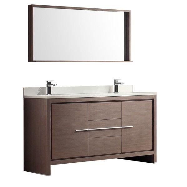 Fresca Allier 60 Inch Grey Oak Modern Double Sink Bathroom Vanity With  Mirror