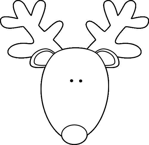 Reindeer Head Black White Png 500 488 Pixels Christmas Coloring Pages Christmas Drawing Reindeer Head