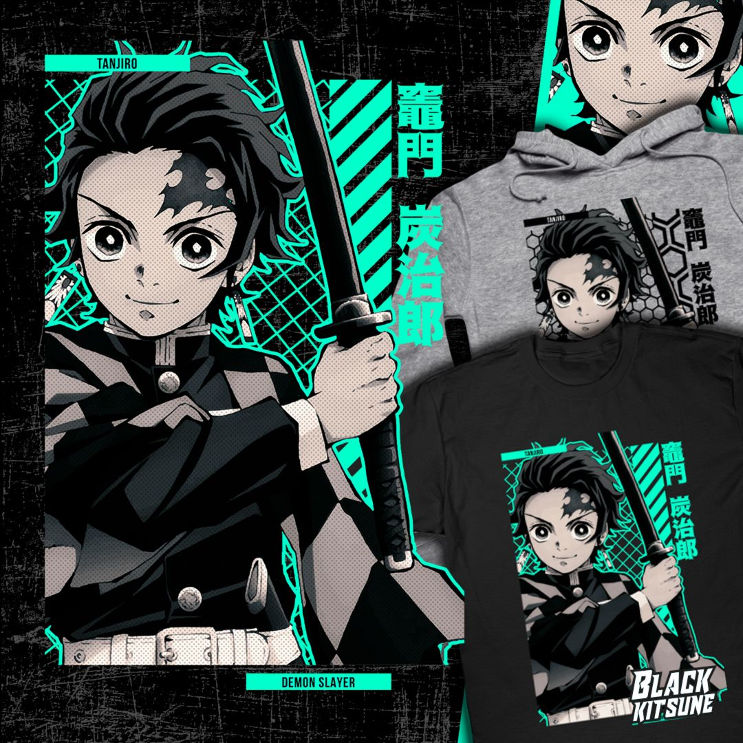 Tanjiro Demon Slayer Anime Shirts From Black Kitsune Third Collection Anime Shirt Anime Stars Slayer Anime