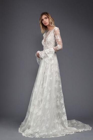 Lace With Bell Sleeves Summer Wedding DressesBohemian