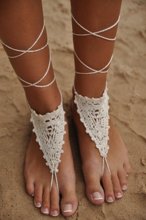 Crochet Ivory Barefoot Sandals, Beach Wedding shoes, Bride Foot ...