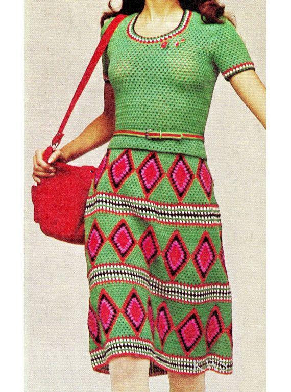 Vintage años 70 Crochet patrón PDF superior y la por KinzieWoolShop ...