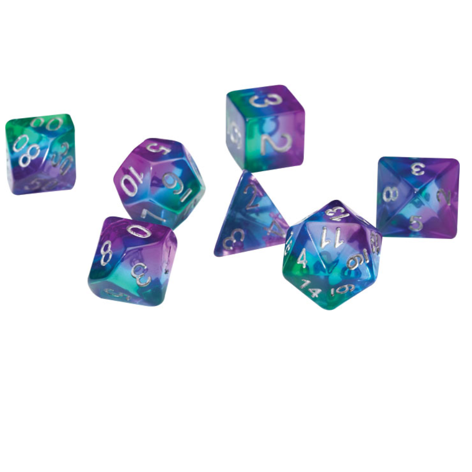 Yellow /& Purple DND Polyhedral Dice 7-Die Dice Set Fit Dungeons and Dragons Pathfinder RPG MTG Math Role Playing Game Board Games Table Game Dice Ink Elements Series Dice Set