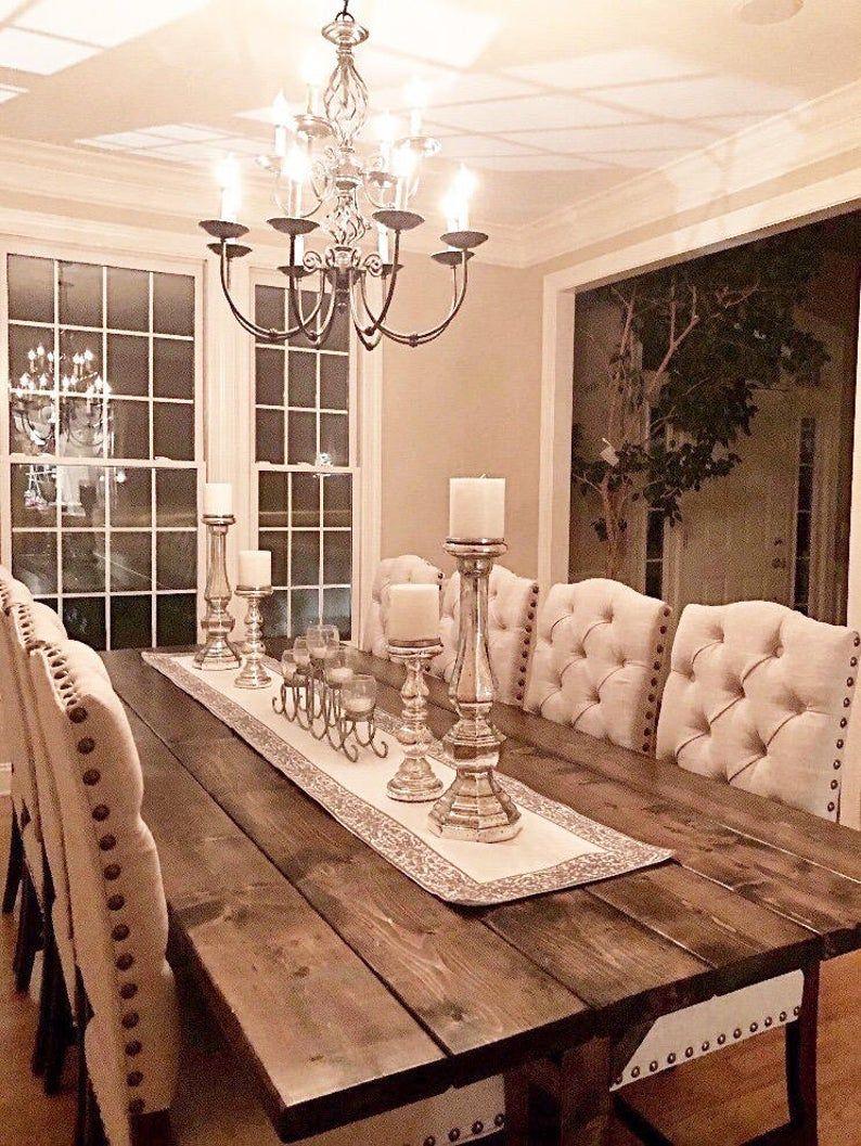 Large Farmhouse Table Long Farm Table Dining Room Table Etsy In 2021 Farm Table Dining Room Farmhouse Dining Room Table Dining Room Table Decor