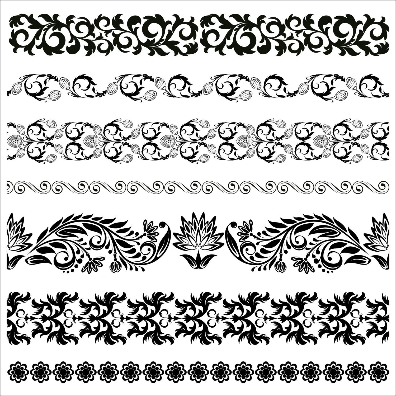 Floral Border Pattern Flowers Vector Vintage Ornamental