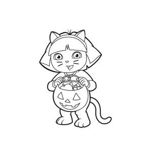 Dora Halloween Colouring Pages Cat 1 Halloween Coloring Pages
