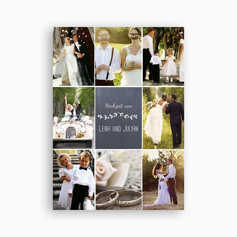 Genug Platz für Fotos Vielen Pärchen fällt es schwer, sich zu entscheiden, welches Foto auf die Danksagung der Hochzeit soll. Diese Karte soll dem