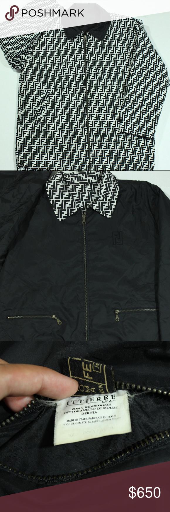 Vtg Authentic Fendi Zucca Silver Monogram Jacket Monogram Jacket Silver Monogram Reversible Jacket Men