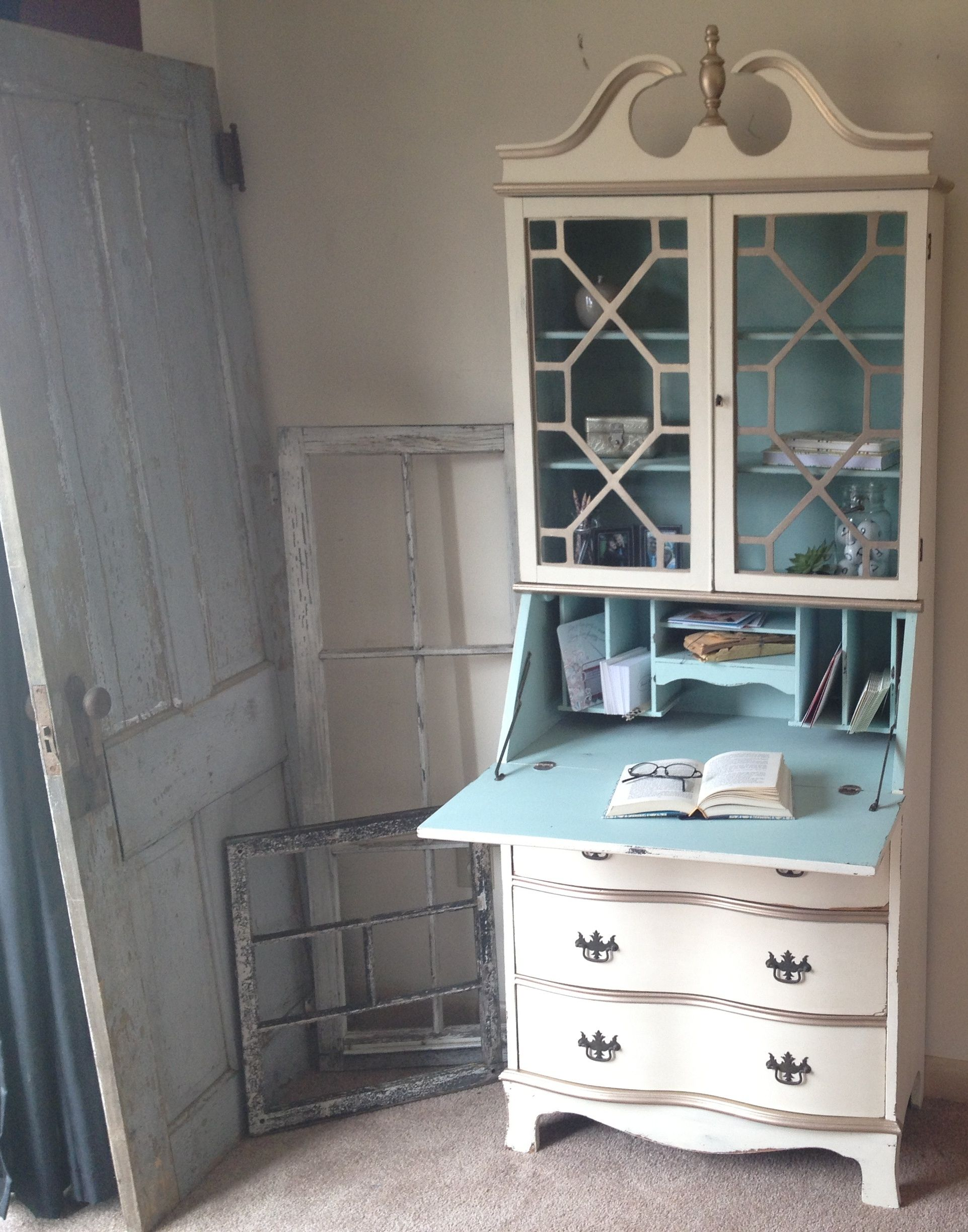 hand made vintage secretary hutch cabinet desk small painted distressed byu2026