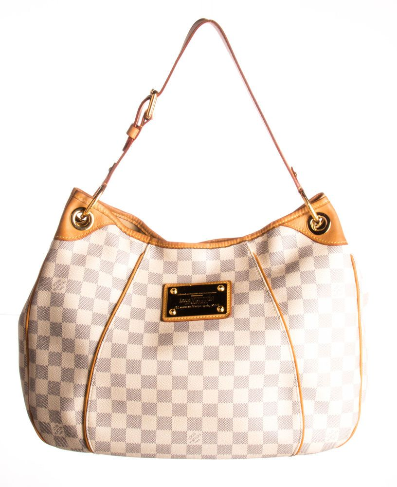 LOUIS VUITTON White Damier Azur Coated Canvas Galliera PM Hobo Bag ... d13ed455ca08f