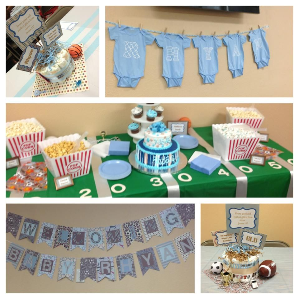 Baby boy sports themed baby shower! | Baby shower ...