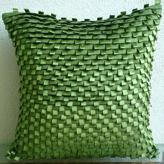 Go Green Pillow Sham Covers 24x24 Inches Suede by TheHomeCentric