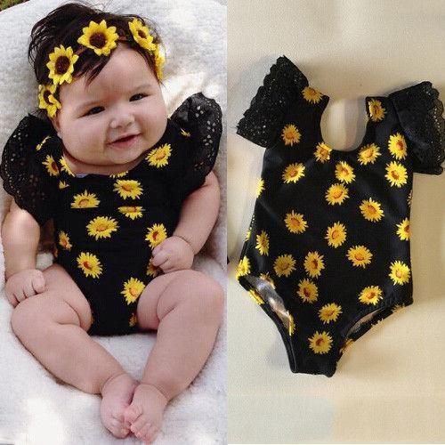 Newborn Baby Girls Sunflower Romper Bodysuit Jumpsuit Outfits Sunsuit Clothes