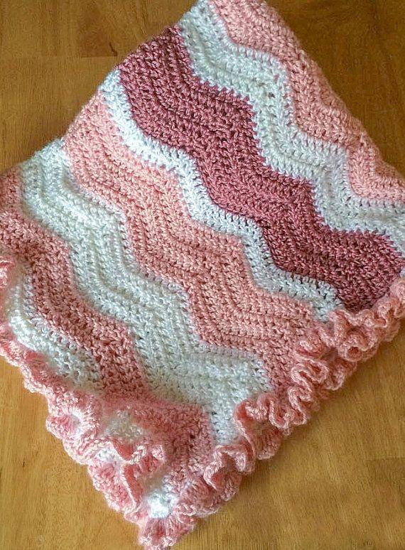 Ruffled Chevron Baby Ripple Afghan Pattern, Baby Blanket Crochet ...