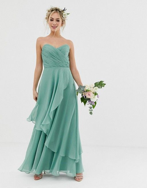 3a088a770c ASOS DESIGN Bridesmaid bandeau maxi dress with soft layer skirt ...
