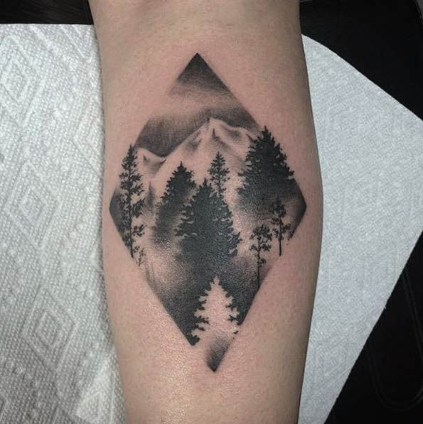 Pine Forest Tattoo Design by Jade