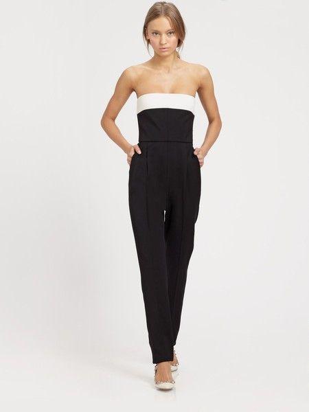 Valentino Strapless Bowback Silk Jumpsuit
