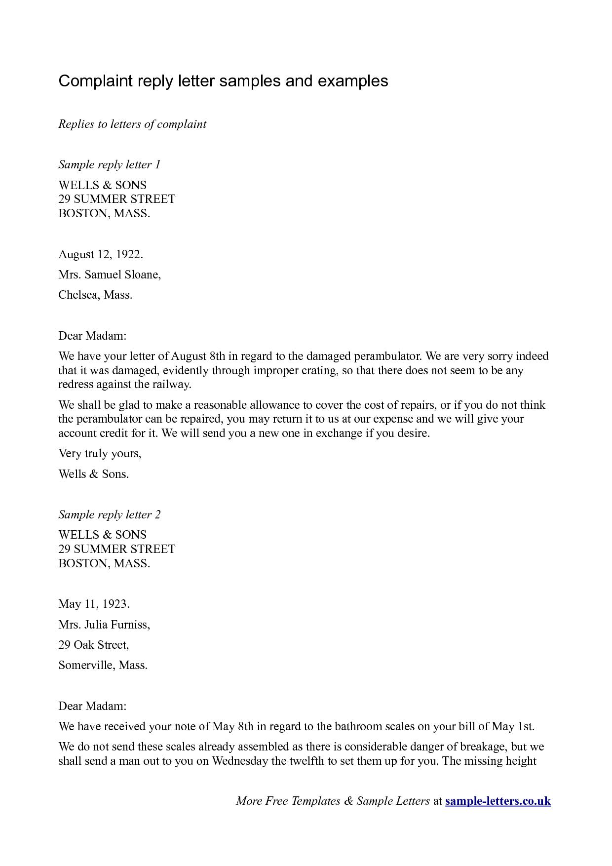 Letter complaint sample letters claim free home design idea letter complaint sample letters claim free spiritdancerdesigns Images