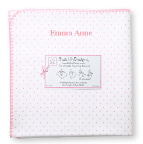 Soft, lightweight and breathable cotton flannel will make this a favorite     42 inch square.     Available with personalization for an additional charge. Allow a few extra days for delivery on personalized items. Double check spelling as personalized items cannot be returned.     Thread color is Bright Pink.