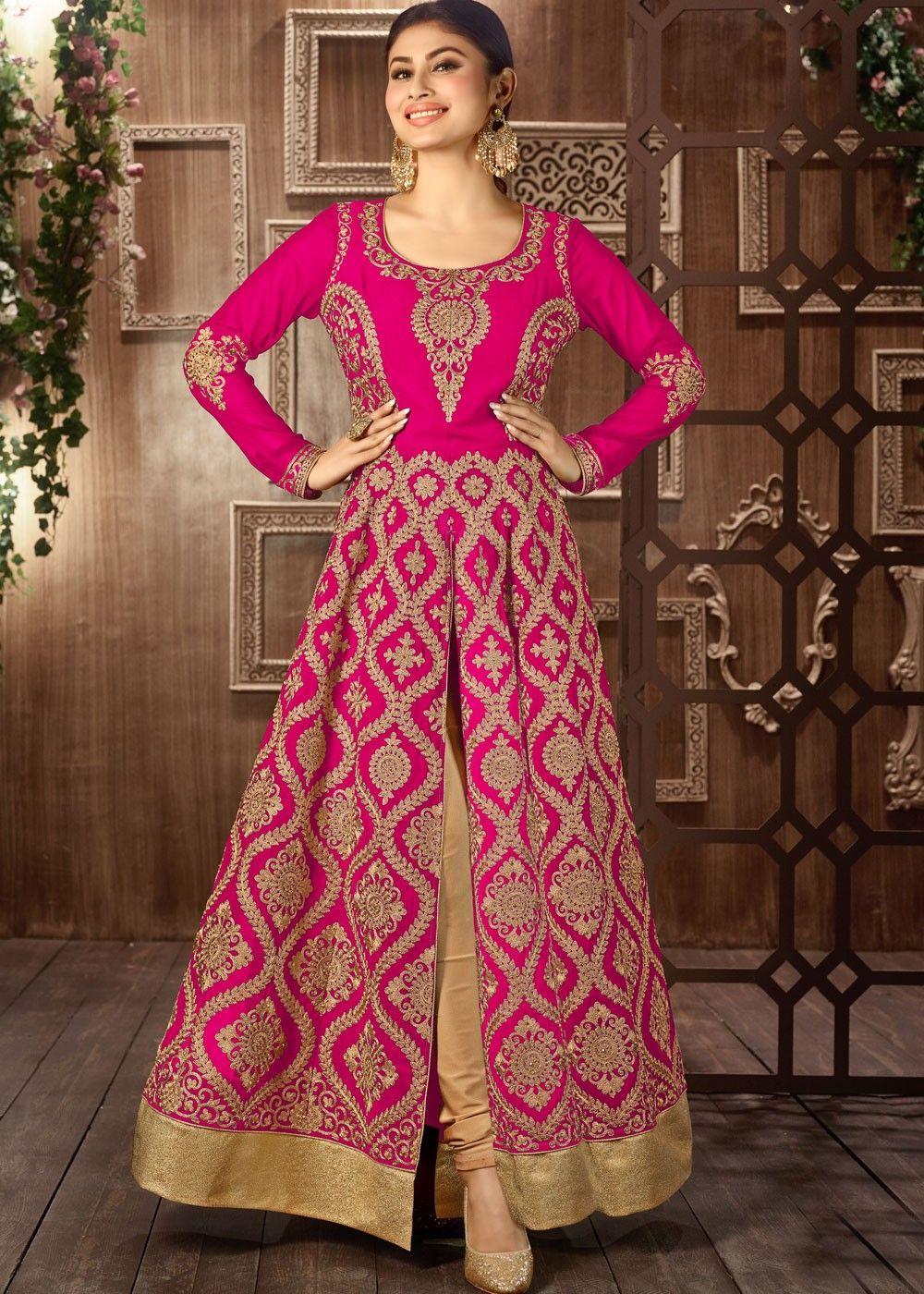 Mouni roy front slit pink georgette anarkali suit anarkali suits