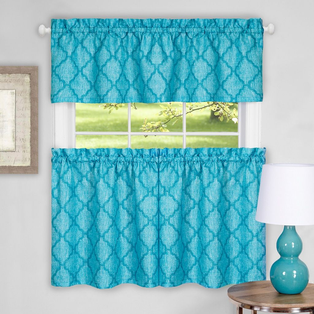 Achim colby trellis tier u valance kitchen curtain set kitchen