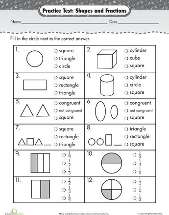 Practice Test: Simple Shapes & Fractions | Art and things for school ...