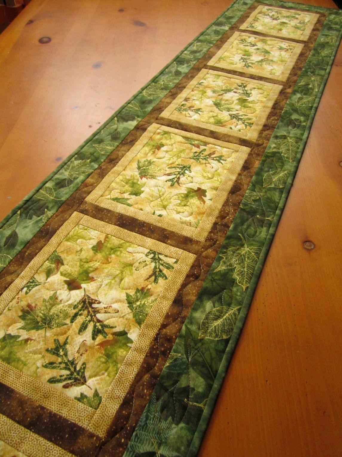 Quilted Table Runner Natures Beauty - One block, made large enough ...