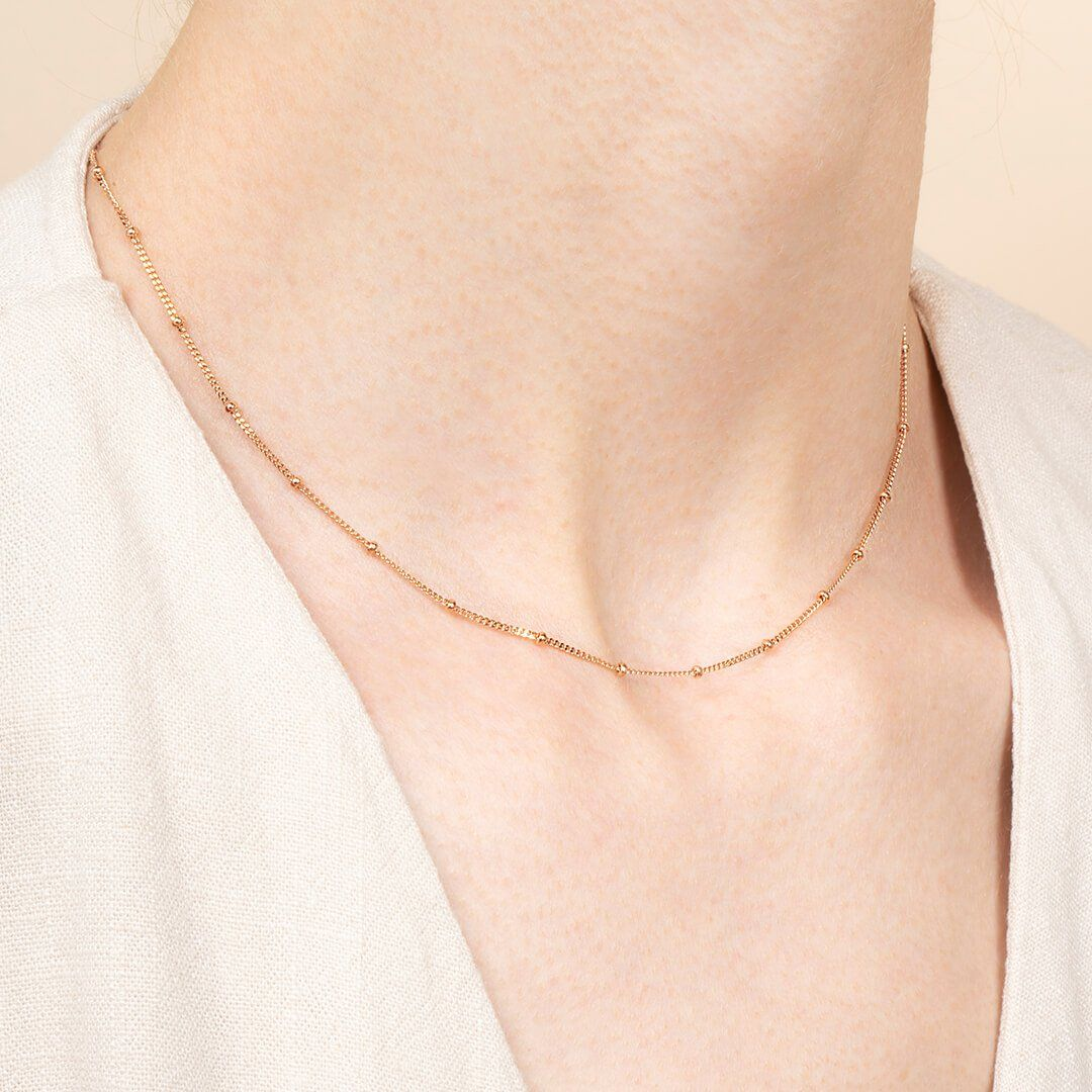Gold And Rose Small Ball Chain Necklace Ana Rose Gold Ana