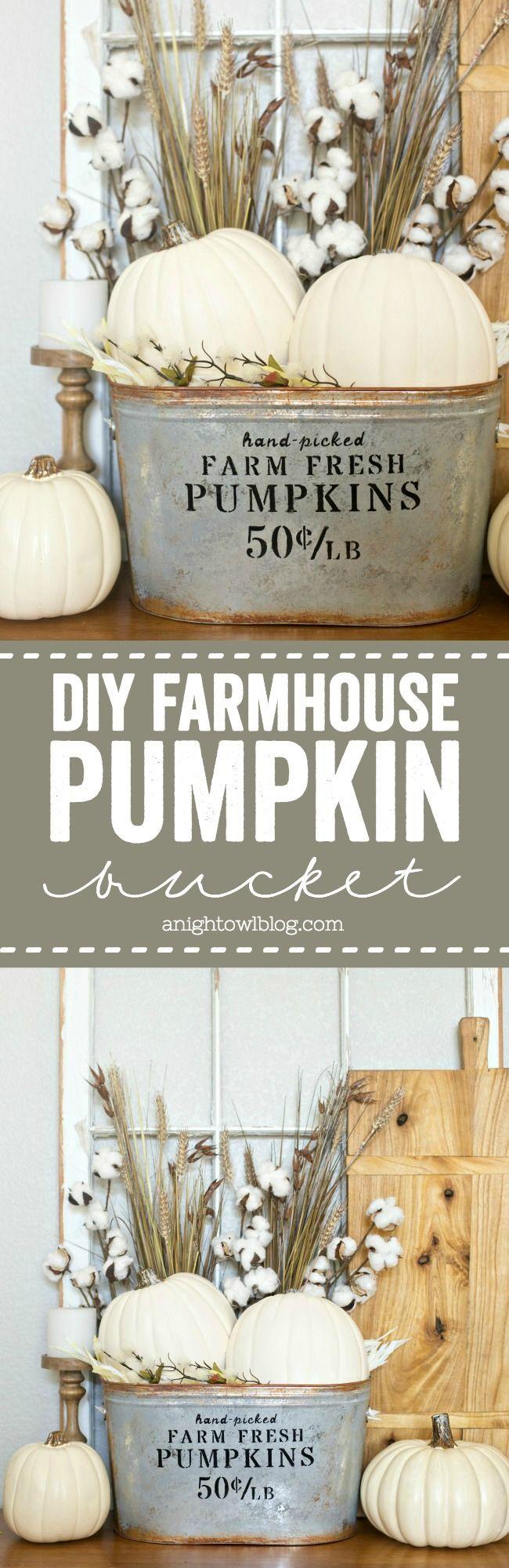 diy farmhouse pumpkin bucket fall decor fall home decor on favorite diy fall decorating ideas add life to your home id=79977