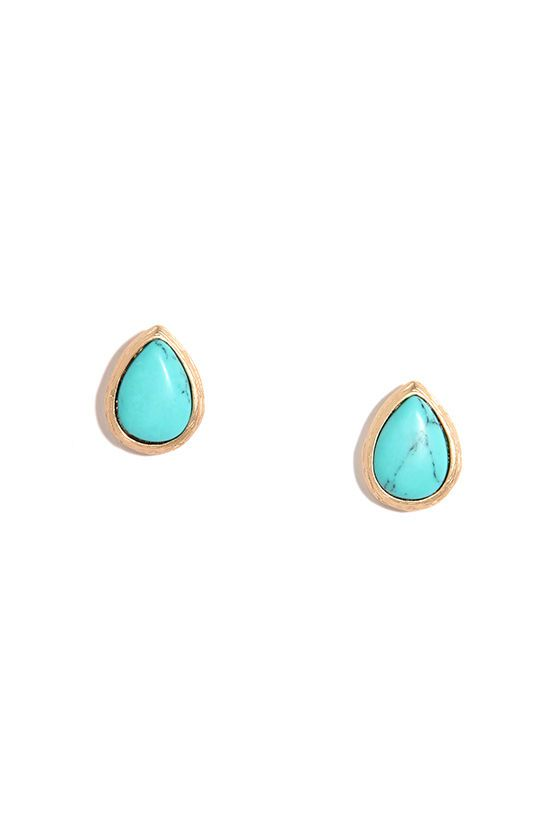gold and turquoise earrings / lulu's