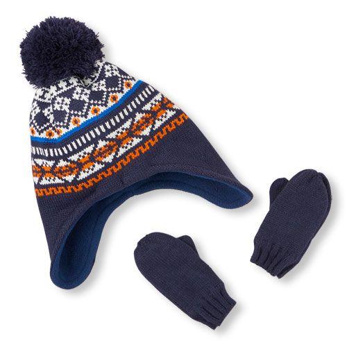 Baby Boys Toddler Boys Fair Isle Print Pom Pom Hat And Solid ...