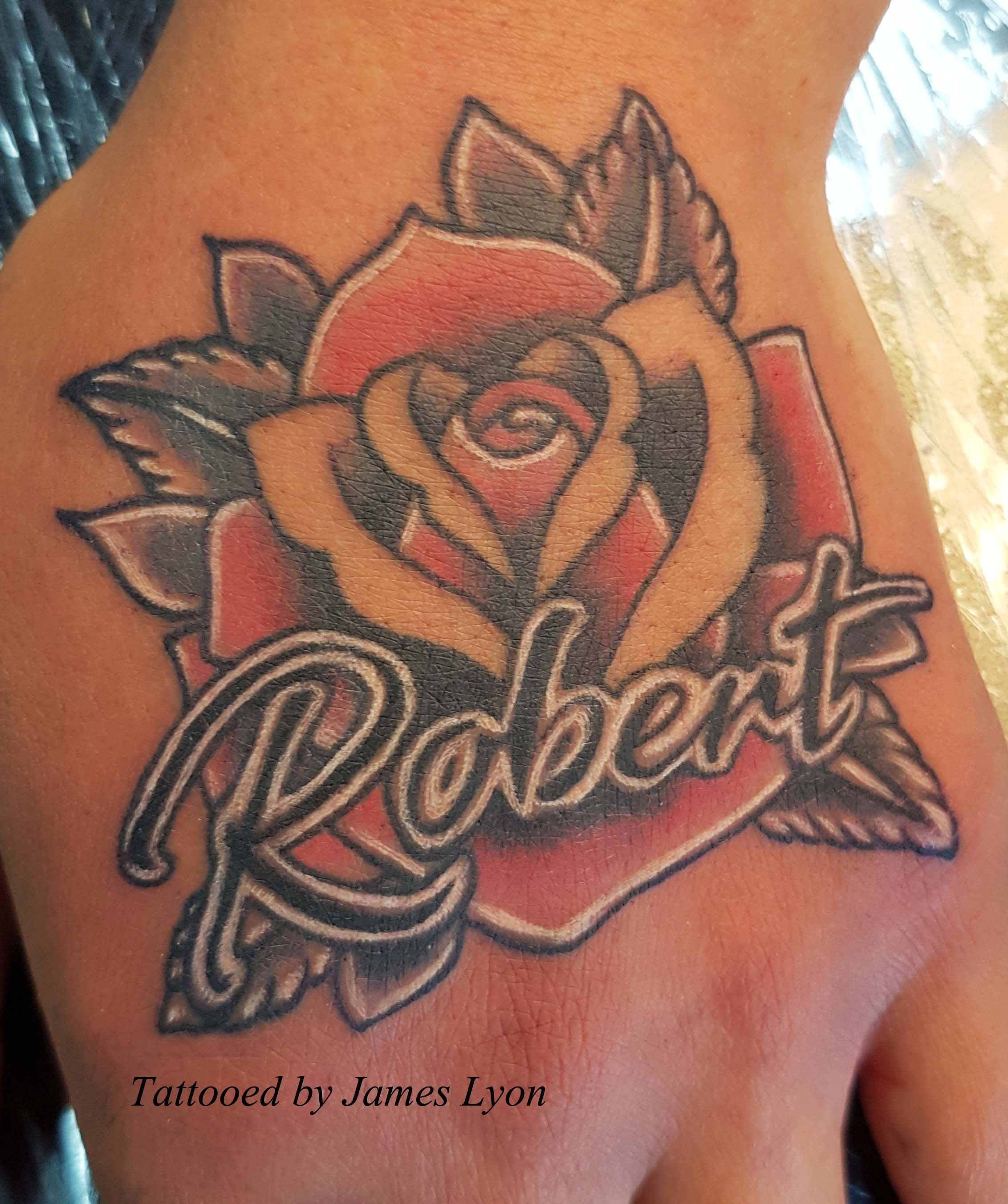 Rose Tattoo On Hand Full Colour White Highlights