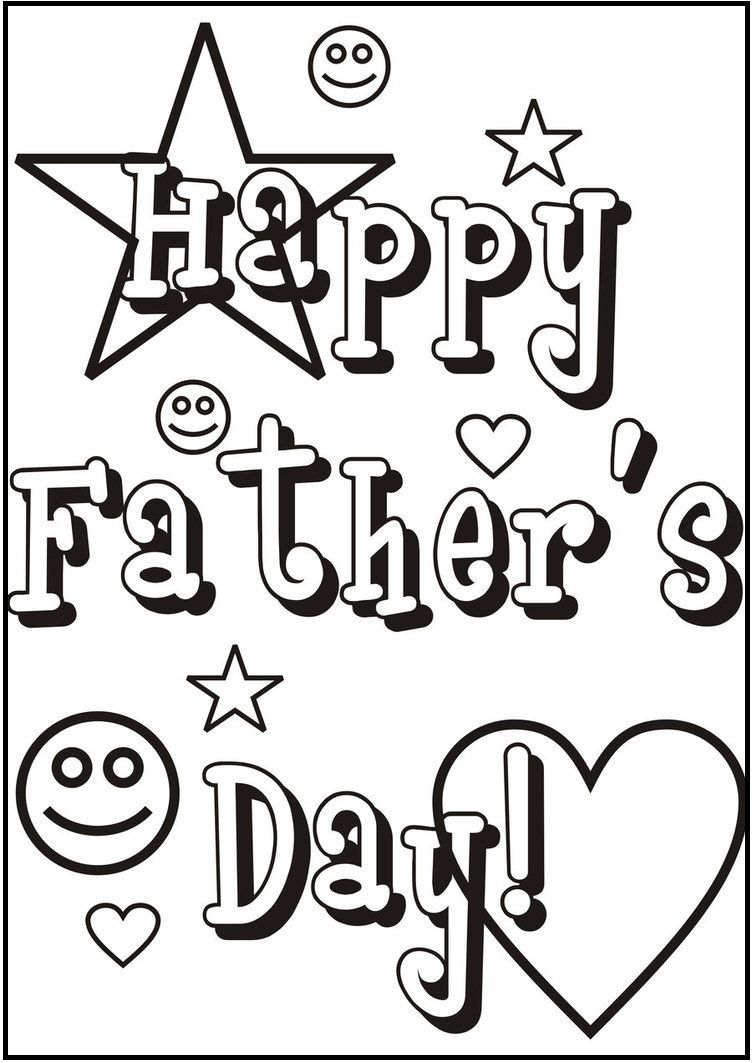 Greeting Car With Father\'s Day Theme coloring picture for kids ...