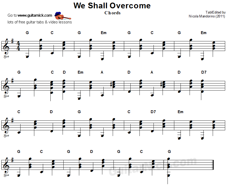 We Shall Overcome Guitar Chords Sheet Music Musical Pinterest