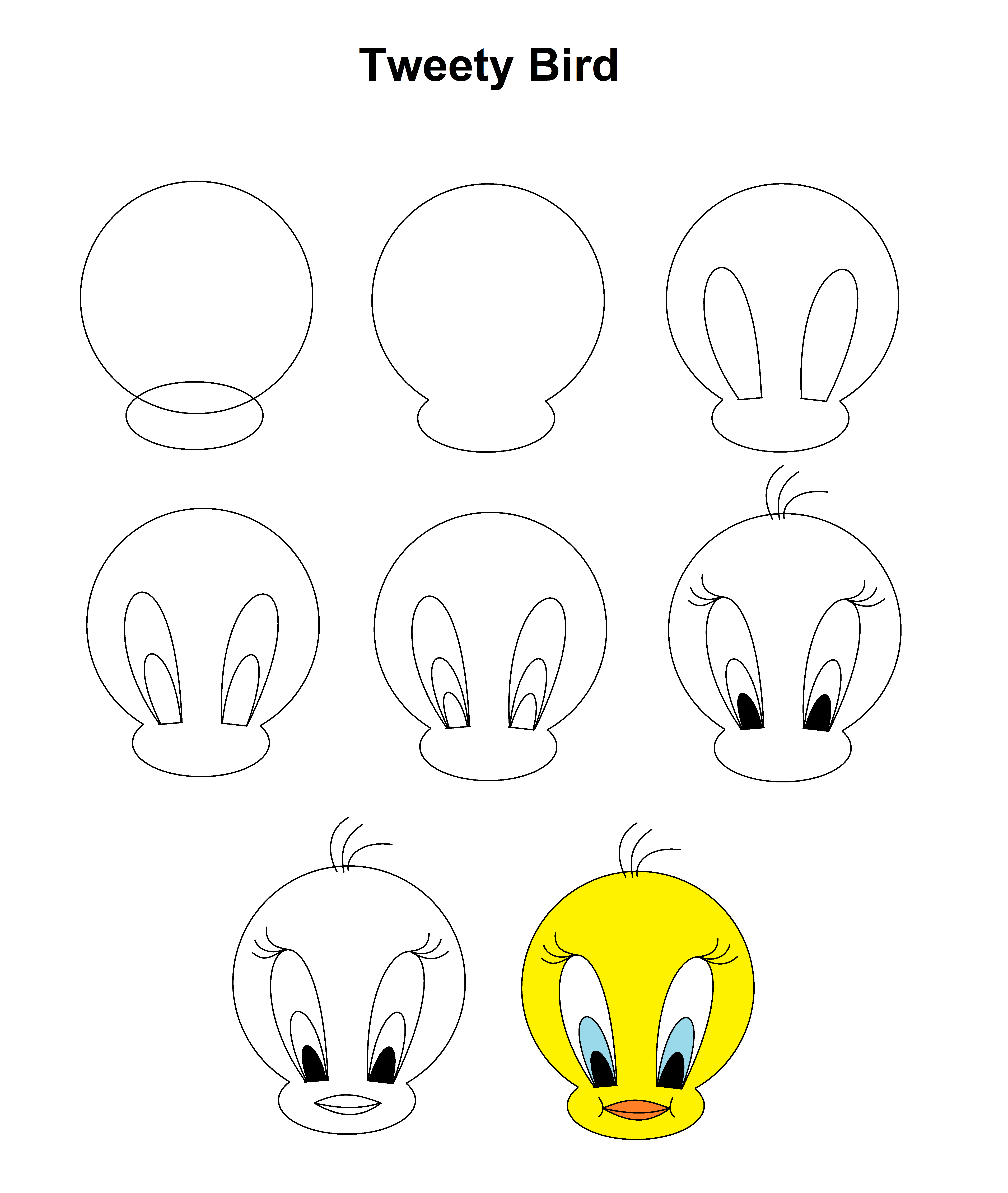 Tweety Bird Step By Step Tutorial Easy Disney Drawings Bird Drawings Art Drawings Sketches Simple