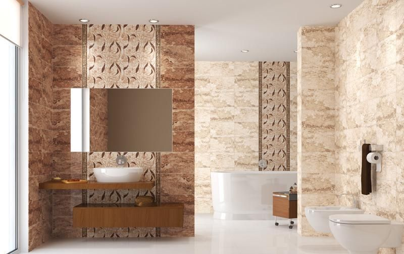 Salle De Bain Travertin En Marron Et Beige Pastel Mobilier En Bois - Vasque beige salle de bain