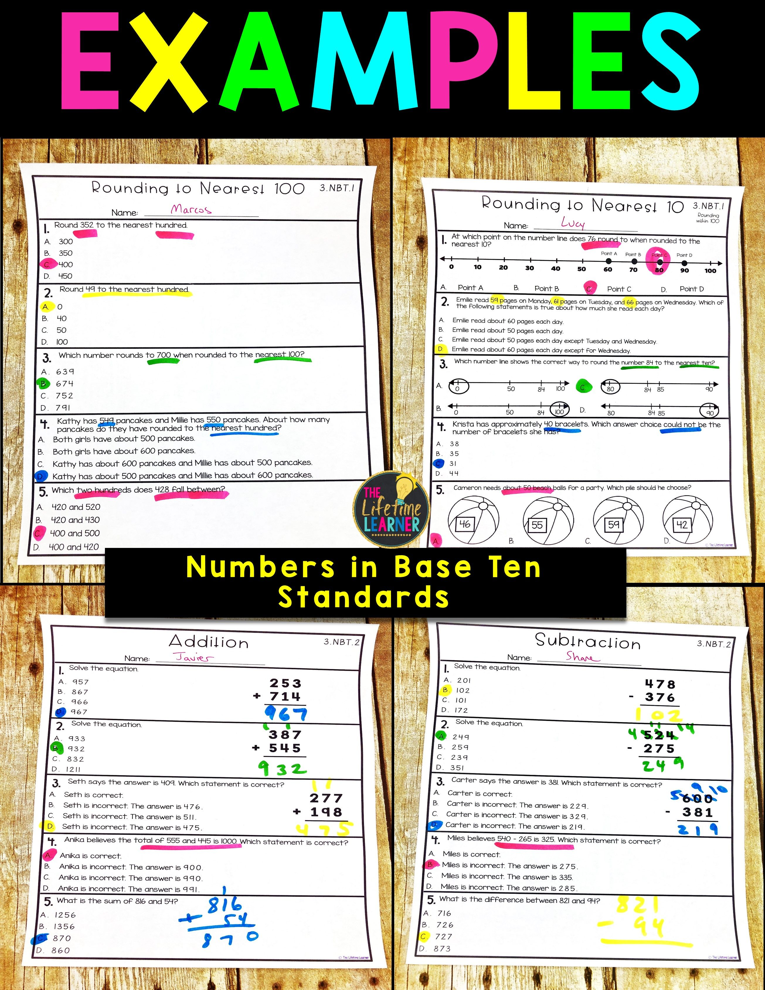 Numbers In Base Ten 3rd Grade Math Worksheets 3rd Grade Math Worksheets 3rd Grade Math Common Core Math Standards
