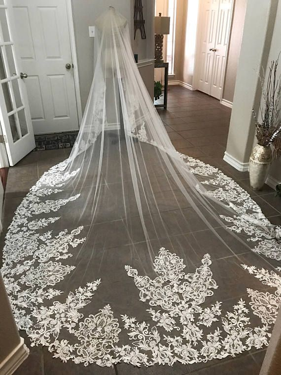 Gorgeous Long Wedding Veils With Lace Applique Cathedral Length Bridal Veils Tulle Custom Long Veil Wedding Cathedral Length Wedding Veil Wedding Bridal Veils