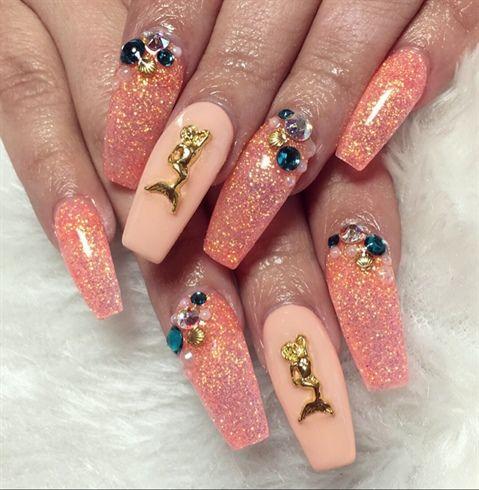 peachy mermaid coffin nailspolishedbyher on nail art