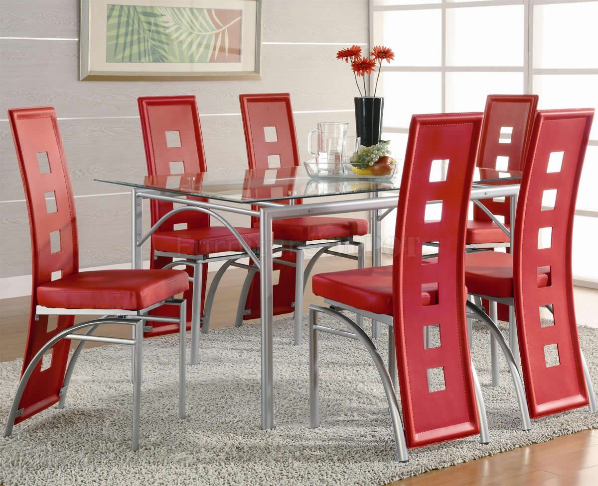 Awesome Agreeable Glass Top Dining Table Bases Contempory Red Chairs And Metal Base  On White Rug Ideas