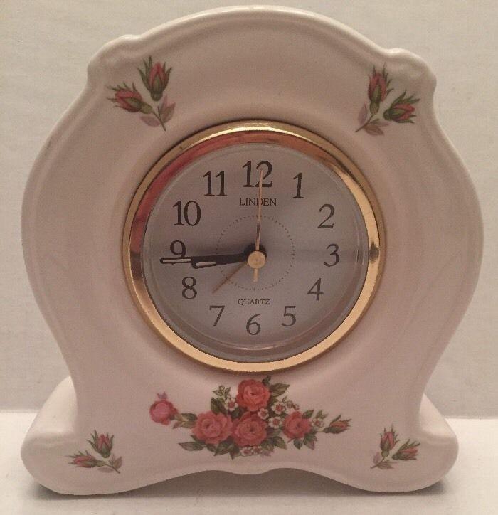 Vintage Linden White Quartz Porcelain Mantel Clock With Painted Roses 6 X 5 X 1 Rose Clock Vintage Clock Mantel Clock