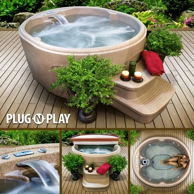 Rock Solid Luna 4 Person 13 Jet Plug And Play Hot Tub Backyard Tub Backyard Patio