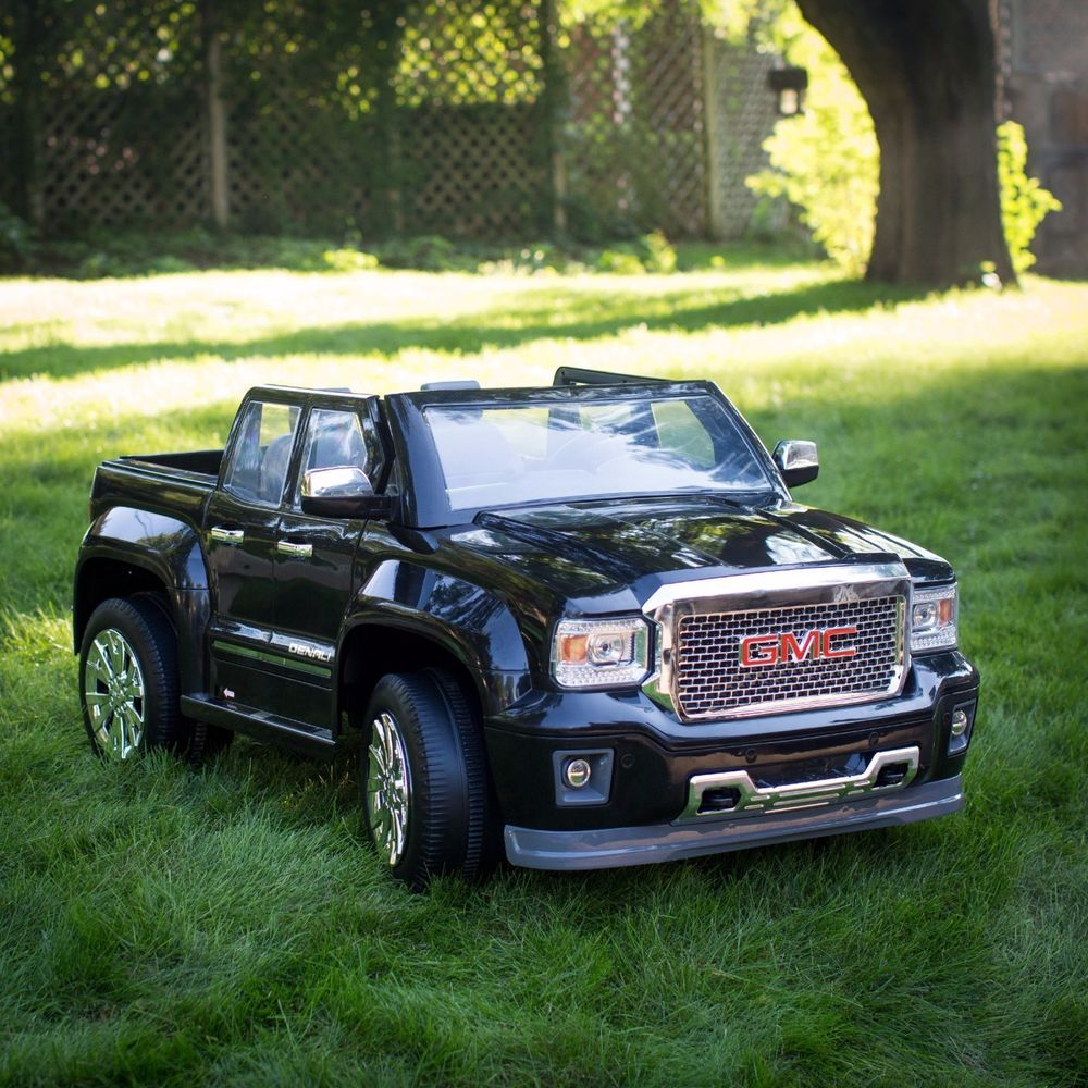 Battery powered ride on toy vehicle 12 volt gmc sierra truck black gmc
