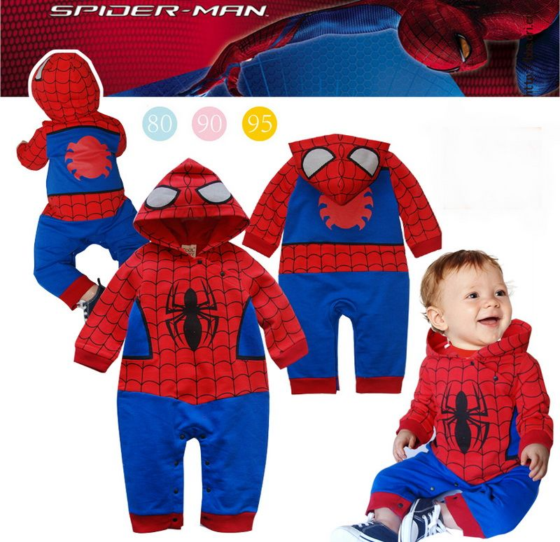 Halloween Party Baby Hooded Body Romper Jumper Costume Spiderman