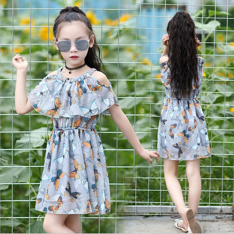 8c43dd518870dd Baby Girl Dresses Summer 2017 Children's Clothing Kids butterfly printing  Dress Chiffon Princess Costume 3 4