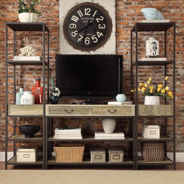 Home Entertainment Furniture Ideas: Sadie Industrial Rustic Open Shelf Media Console With Two
