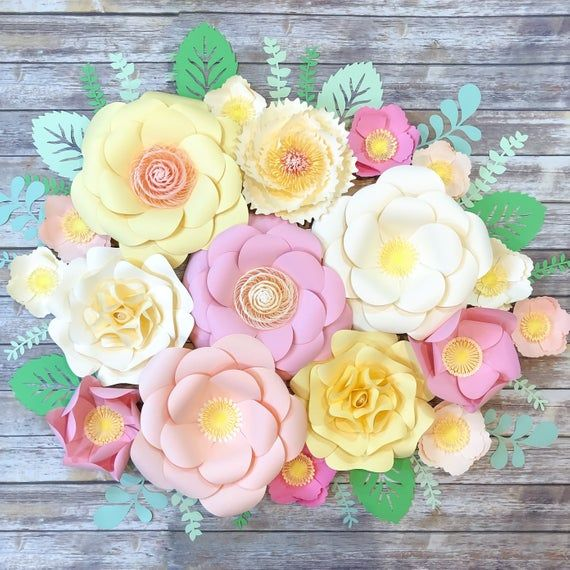Large Paper Flowers Wall Decor Nursery Decor For Girl Bedroom