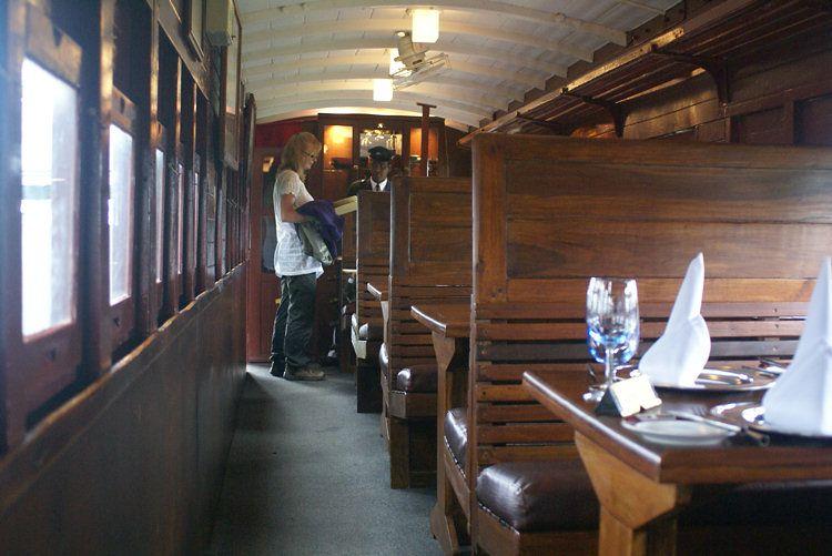 inside the Heritance Tea Factory Hotel Railway Dinning Car
