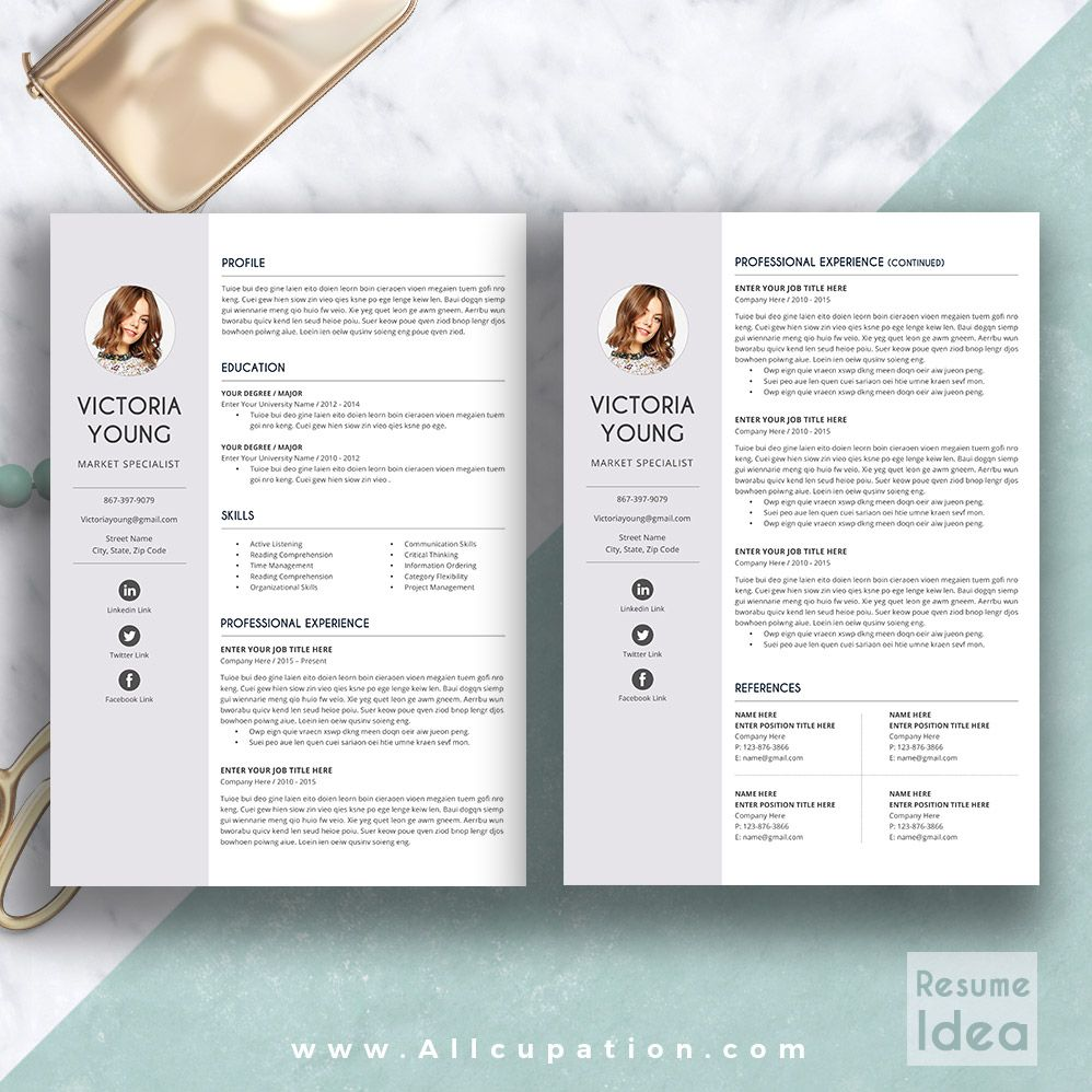 @allcupation Creative Resume Template, Modern CV Template, Word, Cover  Letter, References