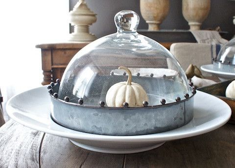 Glass Dome Cloche with white mini pumpkin